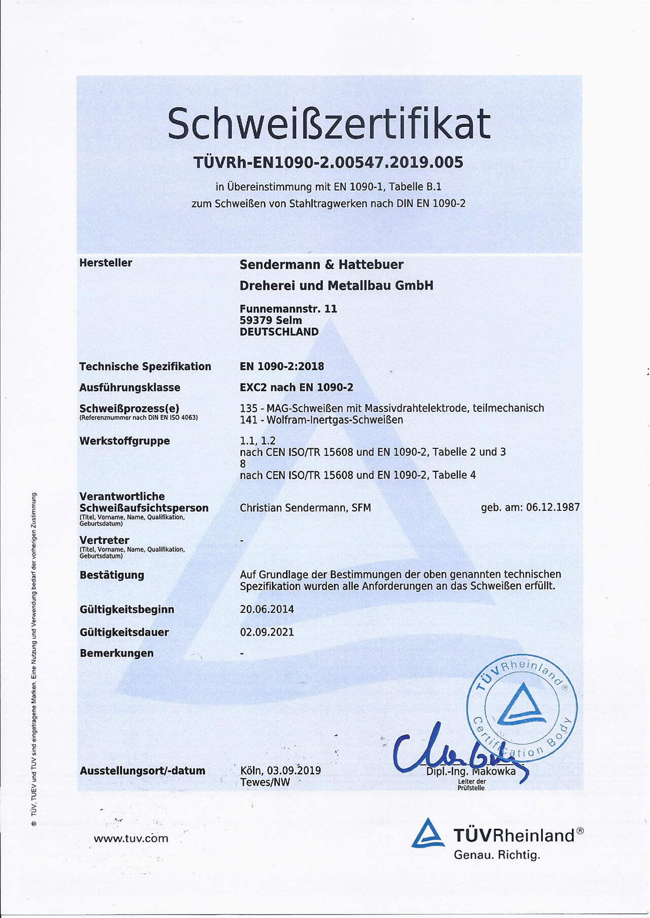 Schweißzertifikat DIN EN 1090-2
