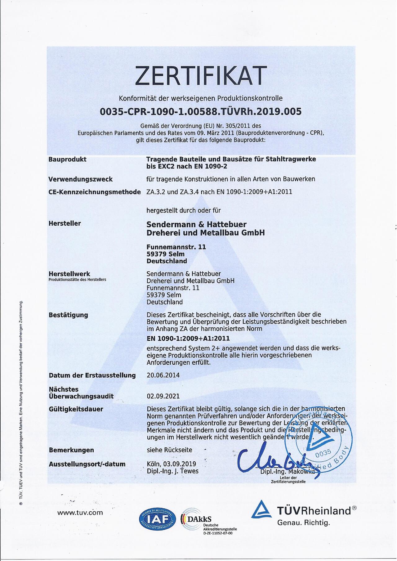 Zertifikat - Konformität der werkseiigenen Produktionskontrolle